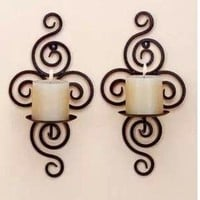TLT Pair of Swirling Iron Hanging Wall Candle Holder Sconce (Black) HD006 - Sears