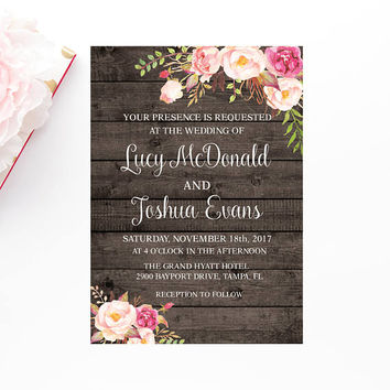 Rustic Wedding Invitation, Floral Wedding Invitation, Printable Boho Wedding Invitation, Boho Barn Wood Wedding Invite, Instant Download,