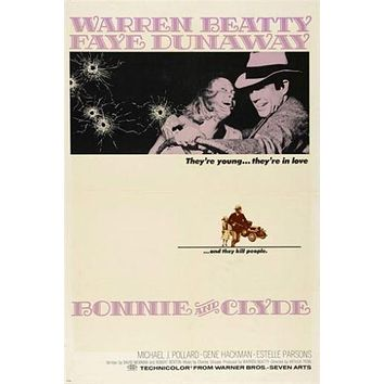 BONNIE AND CLYDE classic movie poster GANGSTERS DUNAWAY and BEATTY 24X36 hot