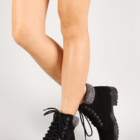 Bamboo Sweater Knit Cuff Lace Up Lug Sole Ankle Bootie