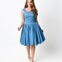 Unique Vintage Teal Roman Holiday Scalloped Retro Flare Dress