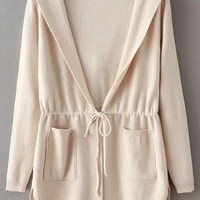 Beige Hooded Drawstring Waist Long Sleeve Pockets Cardigan