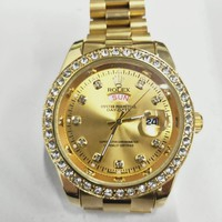 Rolex Fashion New Diamond Women Men Leisure Watch Stainless Steel Wristwatch Golden