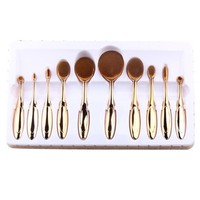 Makeup Brush, Bestpriceam 10 pcs / Set Toothbrush Style Eyebrow Brush Foundation Eyeliner Makeup Brushes (Rose Gold )