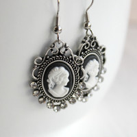 White on Black Lady Cameo Dangle Earrings in Crystal Setting - Neo Victorian Jewelry - Neoclassical Romantic Jewelry - Ready to Ship