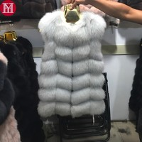 2017 women natural real fox fur vest good quality 100%genuine real fox fur gilets winter thick warm fox fur long sleeveless coat
