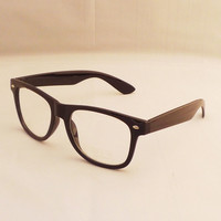 Black Frame Clear Lens Fashion Glasses Sunglasses Wayfarer Vintage Retro Nerd = 1945946564