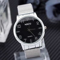 Wristwatch for men Popular  silver mesh watchband stereoscopic dial Trend all-match exquisite men and women quartz watches