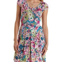 Pink Combo Floral Print Cap Sleeve Dress by Charlotte Russe