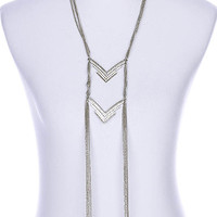 NECKLACE / CHEVRON / LINK / METAL / CRYSTAL STONE PAVED / MULTISTRANDED / 12 INCH DROP / 22 INCH LONG / NICKEL AND LEAD COMPLIANT