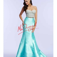 Aqua Blue Strapless Two Piece Mermaid Dress