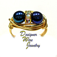 DWJ0354 Stunning Czech Art Glass Blue Iris Metallic Duet Gold Plated Wire Wrap Ring All Sizes