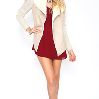 SUEDE DRAPE COLLAR CONTRAST KNIT JACKET - TAUPE