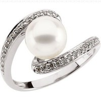 Freshwater Cultured Pearl And Diamond Ring 14K White Gold 8mm 1/6Cttw Freshwater Cultured Pearl And Diamond Ring:Amazon:Jewelry