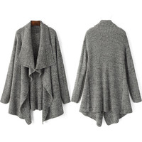 Grey Shawl Collar Open Front Cardigan Sweater