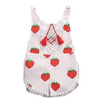 Kids Sunsuits Clothing born Baby Girls Tassel Romper Clothes Strawberry Sleeveless Backless Halter Jumpsuit Outfits Toddler