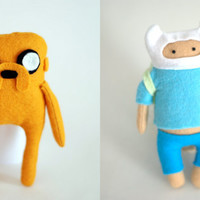 Adventure Time Finn the human and Jake the doll Felt Ooak .
