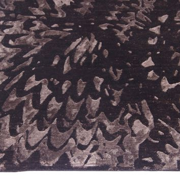 Abstract Chocolate Color Hand Knotted Tibetian Modern Style Wool and Bamboo Silk Area Rug