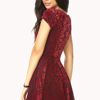 FOREVER 21 Poetic Velveteen Floral Dress Black/Red Medium
