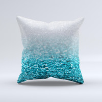 Turquoise & Silver Glimmer Fade  Ink-Fuzed Decorative Throw Pillow