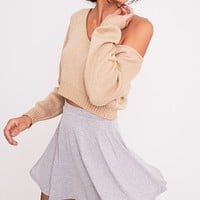 Basic Grey Skater Skirt - Skirts - PrettylittleThing UK | PrettyLittleThing.com