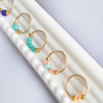 Nose Ring Gold Filled Nose Hoop Turquoise 24,22,20 Gauge Piercing Body Jewellery