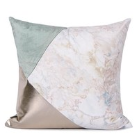"""Lake Blue Light Gold and Marble Three Color Pillow 18""""X18"""""""