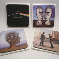 PINK FLOYD  Set of Four Drink Coasters by recordsandstuff on Etsy