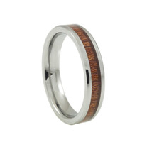 Women's cool tungsten ring Koa wood inlay