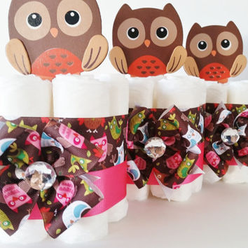 Owl Mini Diaper Cakes, Owl Baby Shower Center Pieces, Owl Cake Toppers, Look Whooo's having a baby!