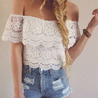 Off-Shoulder Crochet Lace Cropped Top