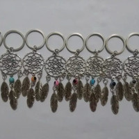 Dream Catcher 10Pcs Fashion Vintage Silver Dreamcatcher Feather Evil Eye 25mm Keychain Trace Chains Charm Fit Key Chains Jewelry