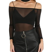 Minx Sheer Off The Shoulder Bodysuit with Choker