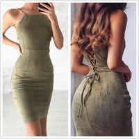 Women Summer Dress 2017 Sexy Backless Beach Party Short Sleeveless Sheath Dresses Bodycon Suede Dress Casual Red Vestido