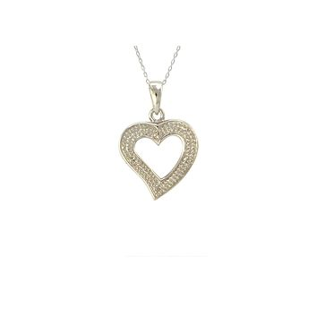 Sterling Silver Open Heart Diamond Necklace (.01 cttw, I-J, I2-I3)