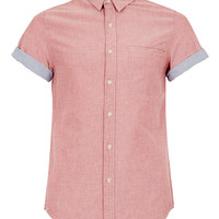LIGHT RED CONTRAST SHORT SLEEVE OXFORD SHIRT - TOPMAN USA
