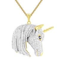 Mens's Iced Out Unicorn Gold Finish Custom Hip Hop Silver Pendant