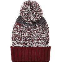 River Island Boys red twist bobble hat