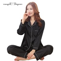 Satin Pajama Sets Long Sleeve Sleepwear Set Two-pieces