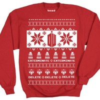 Doctor Who Logo with Daleks & Villians Adult Ugly Christmas Pattern Sweatshirt