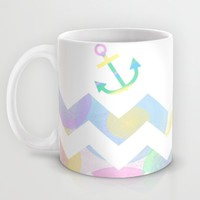 Chevron Sea and Pastel Anchor Mug by UMe Images