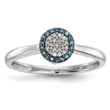 Sterling Silver Blue And White Diamond Cluster Halo Ring