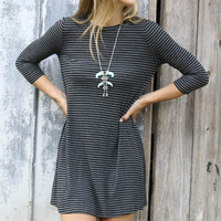 Gray Stripe Sleeve Dress