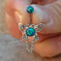 Fire Opal Butterfly Belly Ring Green Blue Stainless Steel Fits In Navel Ring 14ga Body Jewelry