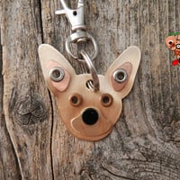 Keychain ID Key Chain Tag Chihuahua Teacup Dog Breed Dog Pet Lover Metal Custom Rivets Stamped
