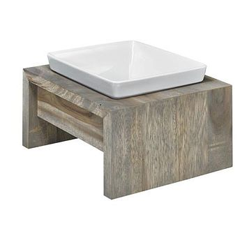 Artisan Rubberwood Single Elevated Dog Bowl Feeder — Fossil