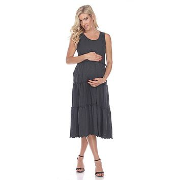 Maternity Plus Size Scoop Neck Tiered Midi Dress Charcoal