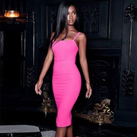 Deer Lady Sexy Bandage Dress 2018 New Arrivals Hot Pink Bandage Dress Bodycon Autumn Women Spaghetti Strap Bandage Dress Party