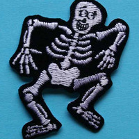 ID 0882 Skeleton Halloween Trick Treat Embroidered Iron On Applique Patch