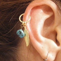 Turquoise Gold Cartilage Hoop Silver Feather Earring Boho Tragus Helix Piercing